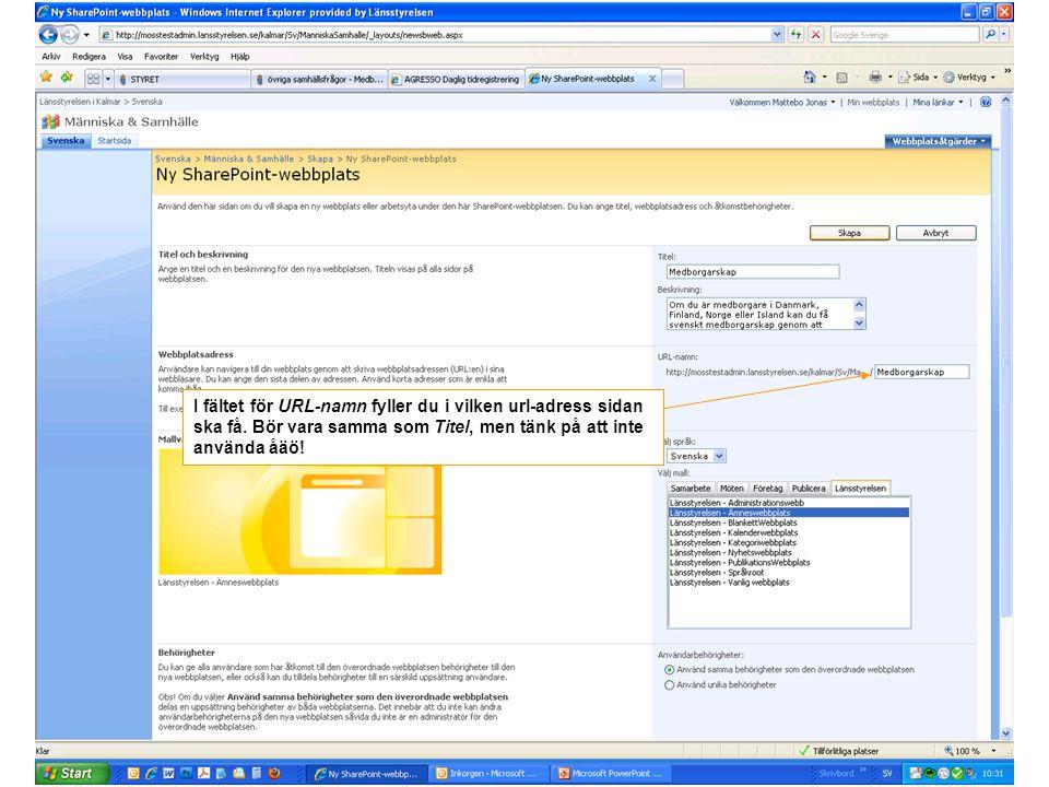 I fältet för URL-namn fyller du i vilken url-adress sidan ska få