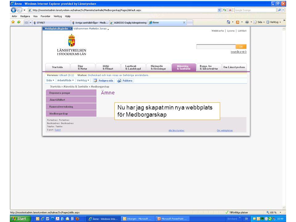 Nu har jag skapat min nya webbplats för Medborgarskap