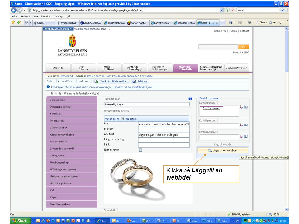 Klicka på Lägg till en webbdel
