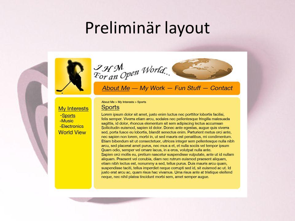 Preliminär layout