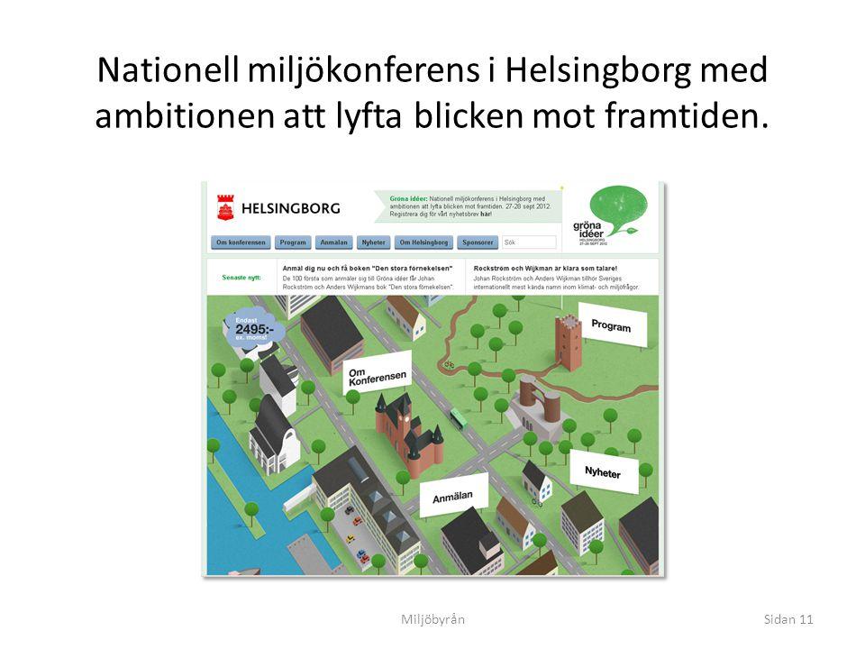 Nationell miljökonferens i Helsingborg med ambitionen att lyfta blicken mot framtiden. 27-28 september 2012 Dunkers kulturhus