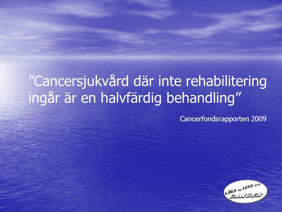 Cancersjukvård där inte rehabilitering ingår är en halvfärdig behandling