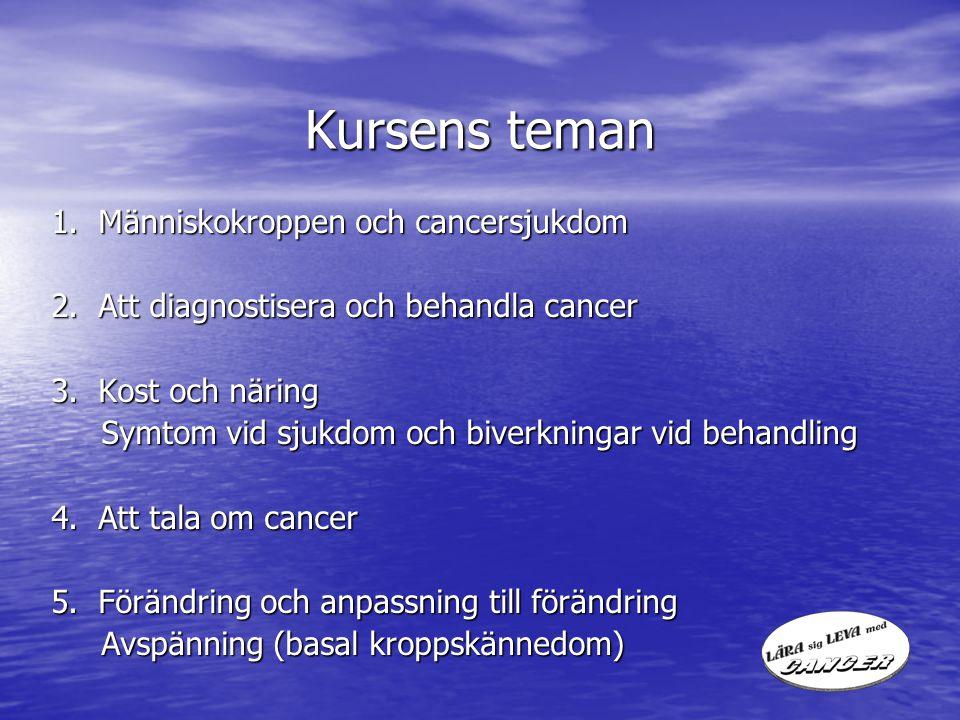 Kursens teman 1. Människokroppen och cancersjukdom