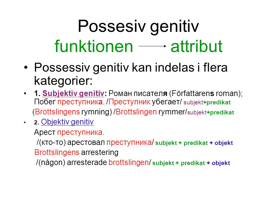 Possesiv genitiv funktionen attribut