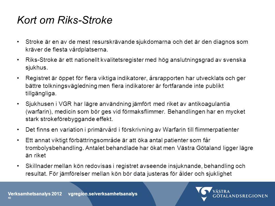 Kort om Riks-Stroke Stroke är en av de mest resurskrävande sjukdomarna och det är den diagnos som kräver de flesta vårdplatserna.