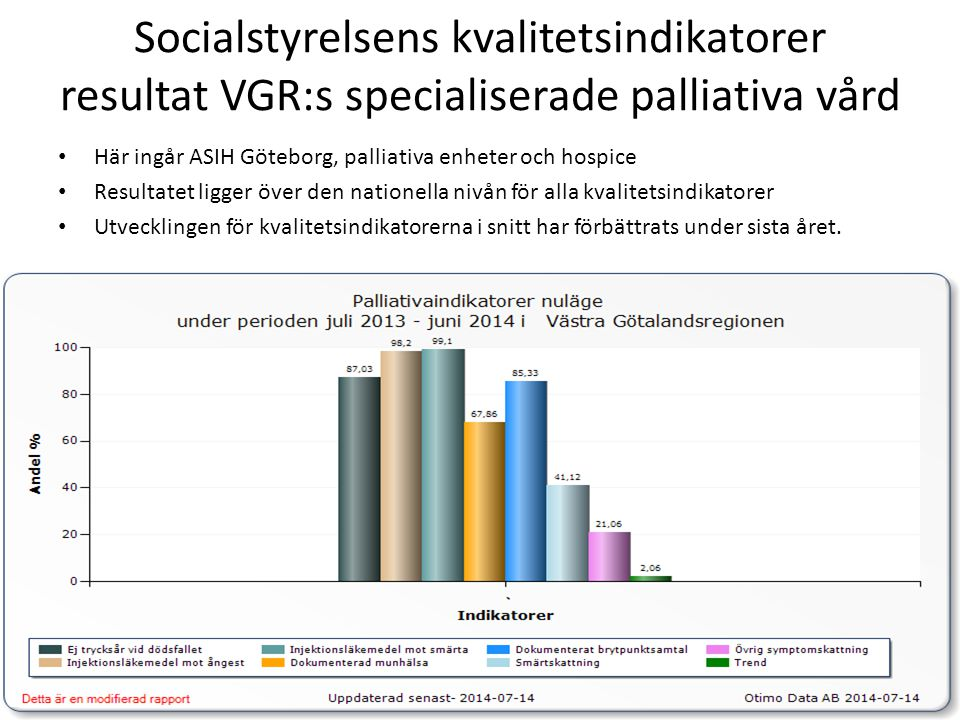 Socialstyrelsens kvalitetsindikatorer resultat VGR:s specialiserade palliativa vård