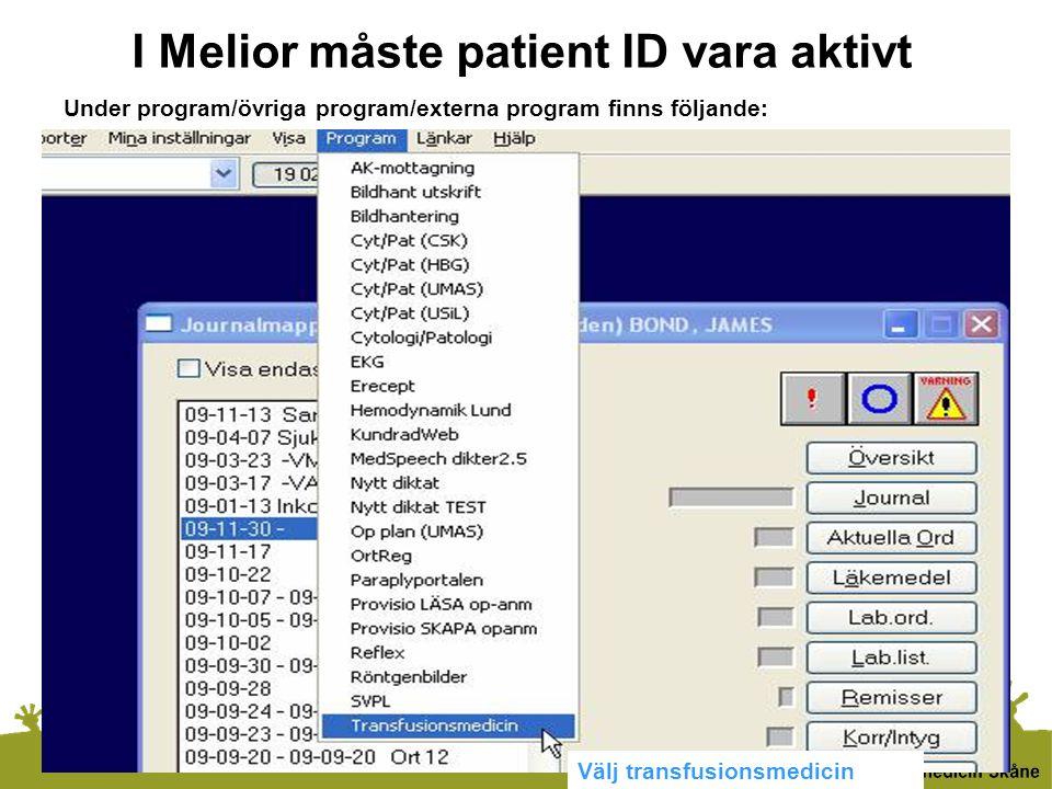 I Melior måste patient ID vara aktivt