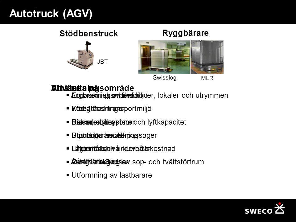 Autotruck (AGV) Stödbenstruck Ryggbärare Användningsområde Vinster