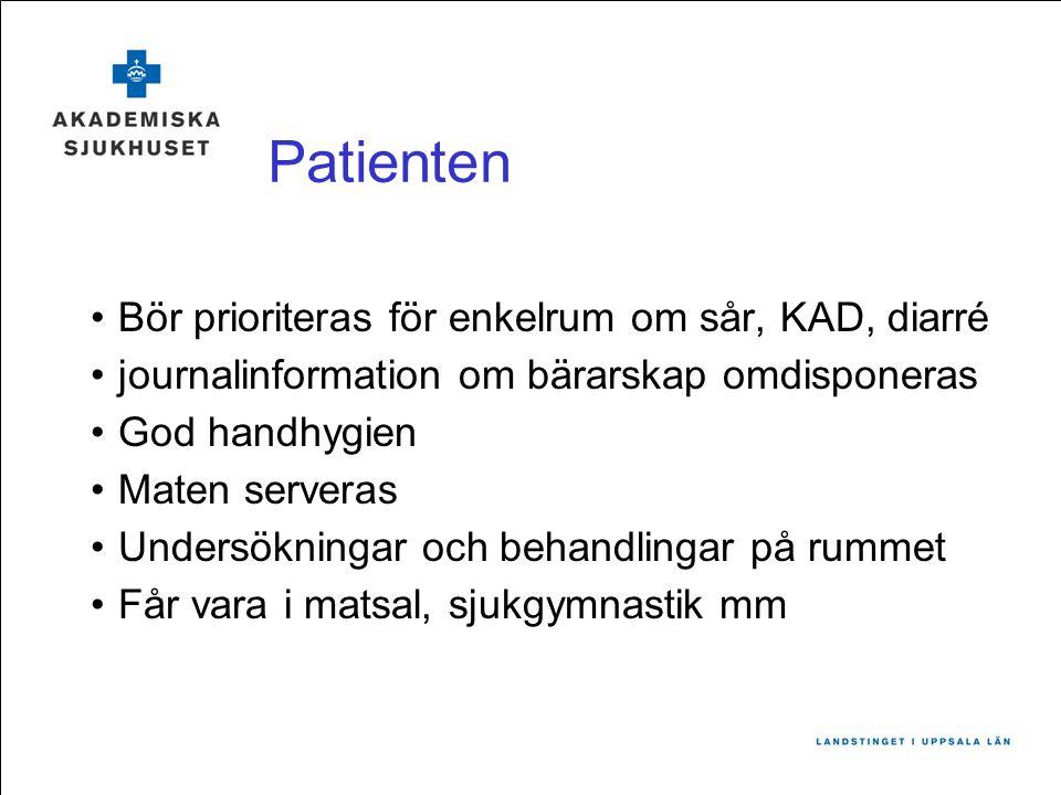Patienten Bör prioriteras för enkelrum om sår, KAD, diarré