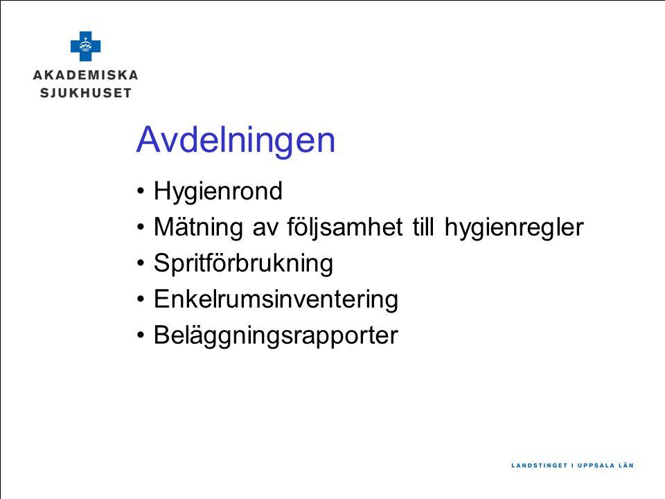 Avdelningen Hygienrond Mätning av följsamhet till hygienregler