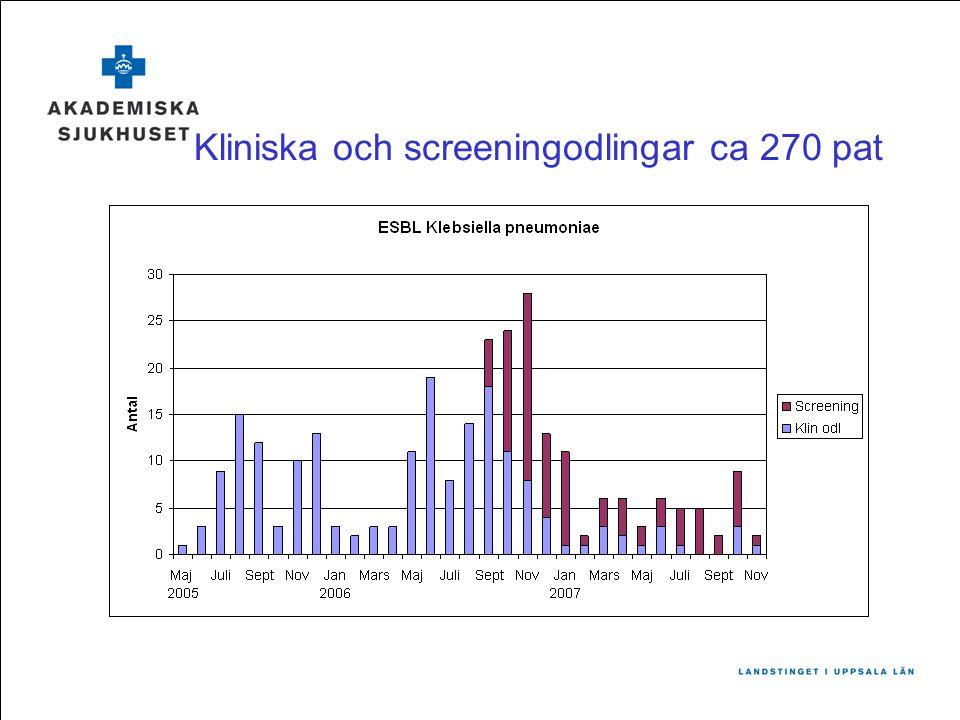 Kliniska och screeningodlingar ca 270 pat