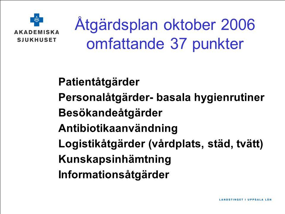 Åtgärdsplan oktober 2006 omfattande 37 punkter