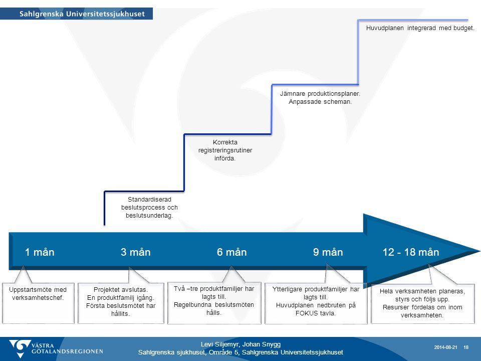 1 mån 3 mån 6 mån 9 mån 12 - 18 mån Huvudplanen integrerad med budget.