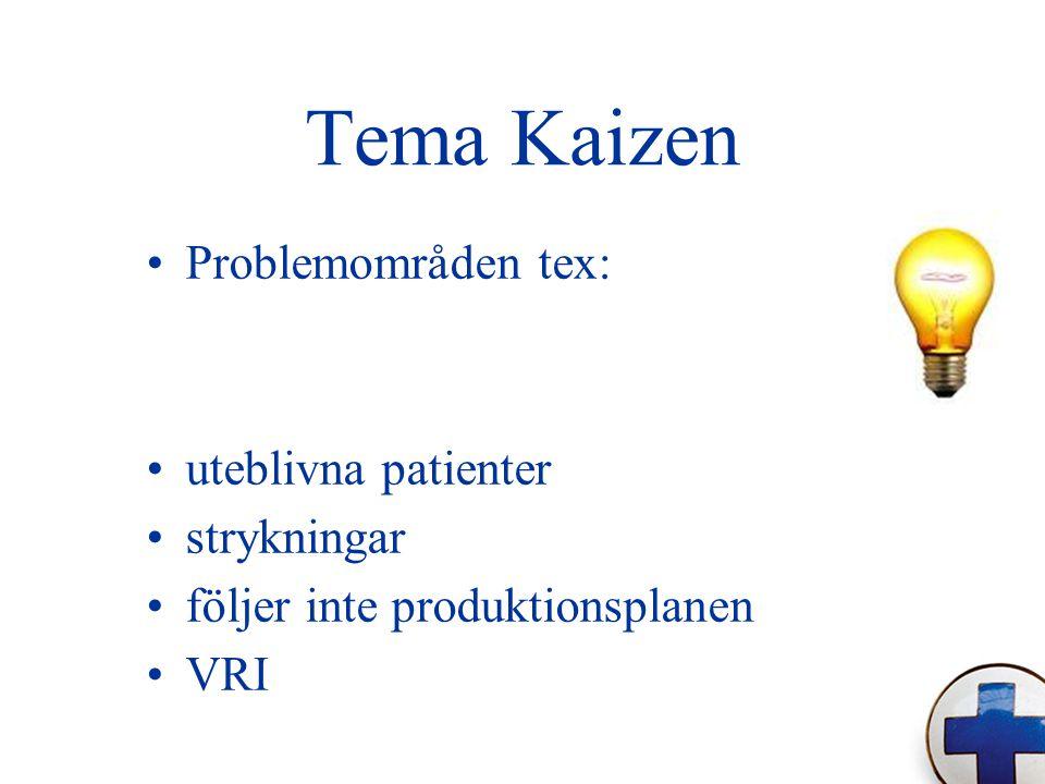 Tema Kaizen Problemområden tex: uteblivna patienter strykningar