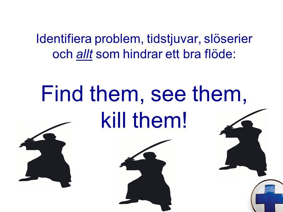 Identifiera problem, tidstjuvar, slöserier och allt som hindrar ett bra flöde: Find them, see them, kill them!