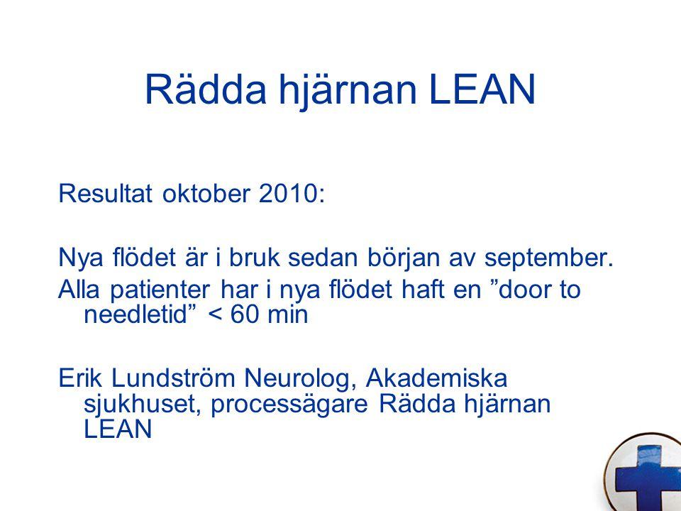 Rädda hjärnan LEAN Resultat oktober 2010: