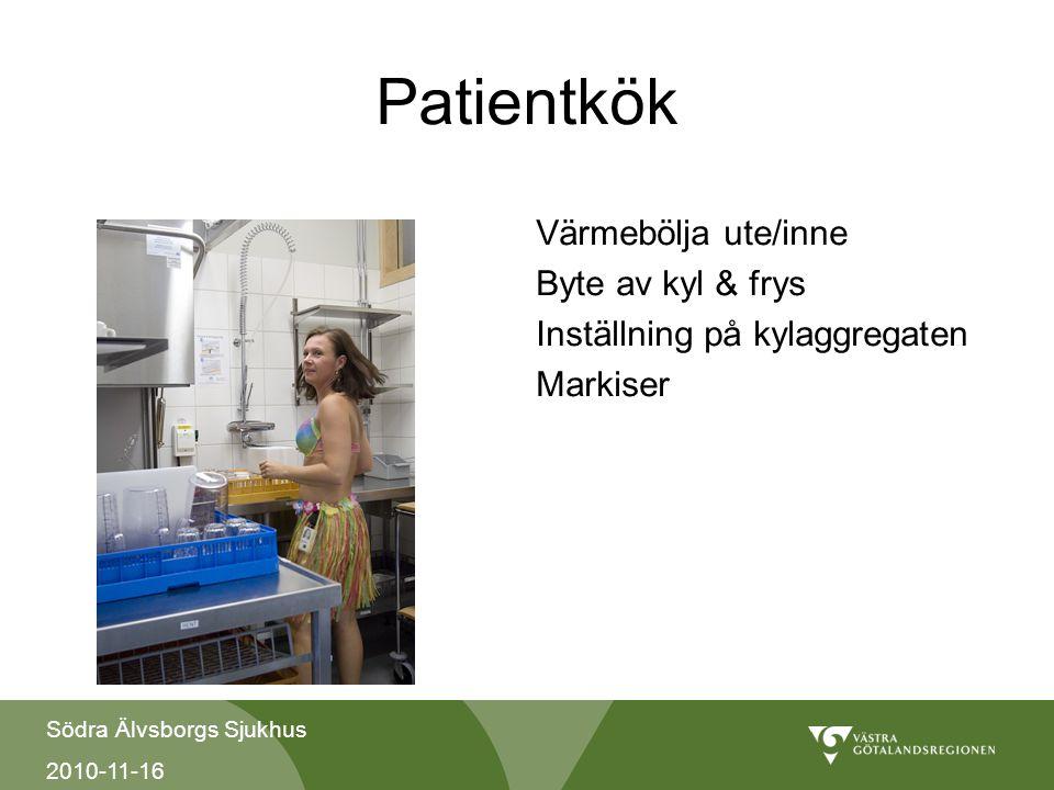 Patientkök Värmebölja ute/inne Byte av kyl & frys