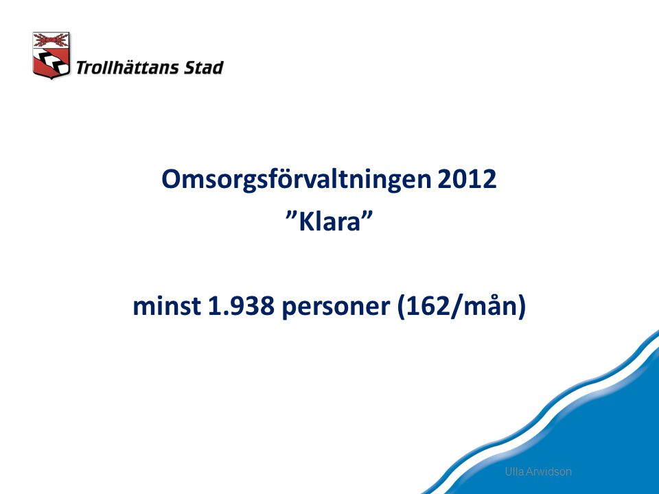 Omsorgsförvaltningen 2012 Klara minst 1.938 personer (162/mån)
