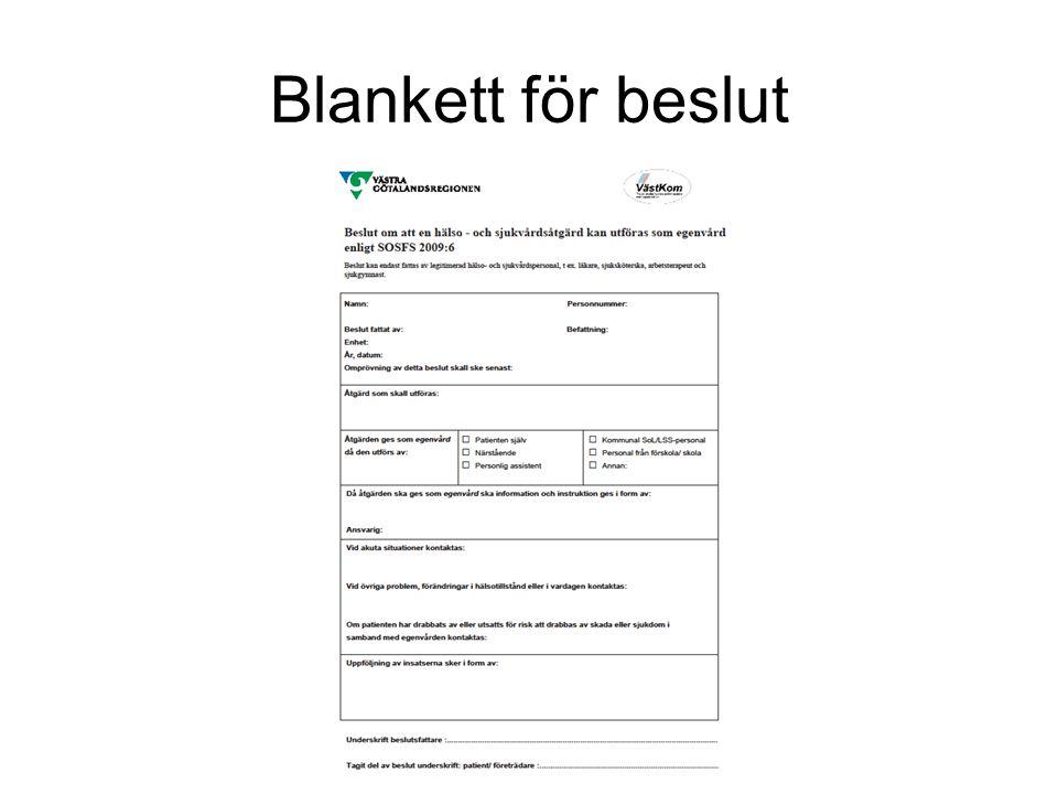 Blankett för beslut