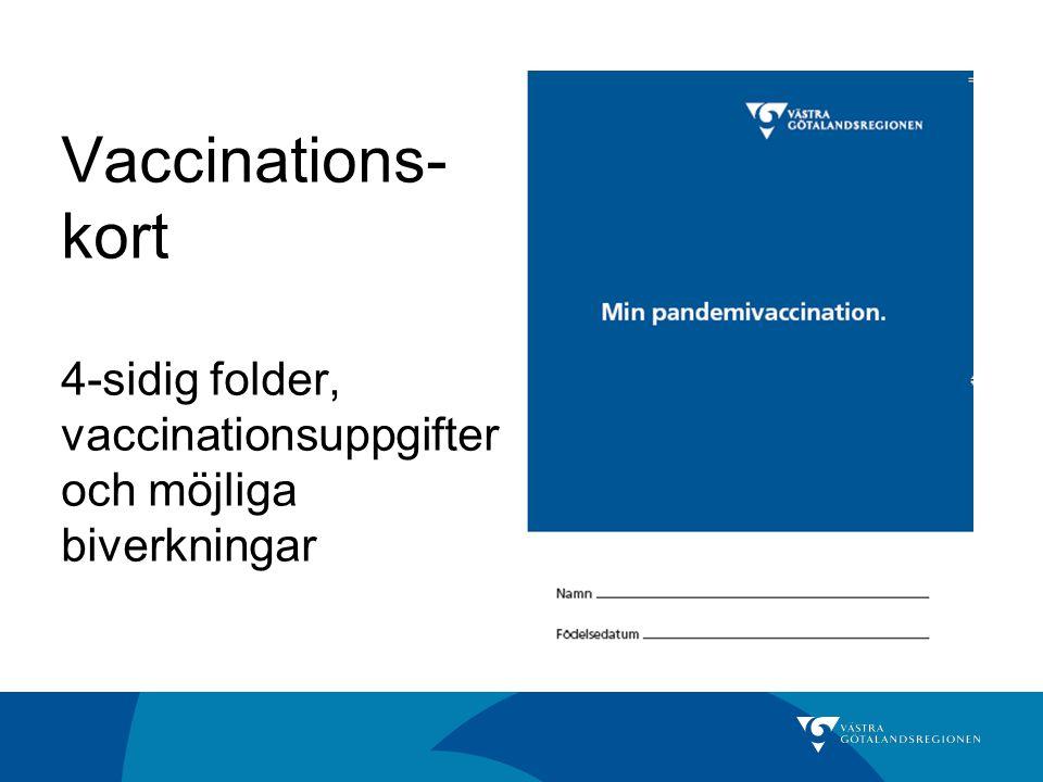 Vaccinations- kort 4-sidig folder, vaccinationsuppgifter och möjliga biverkningar