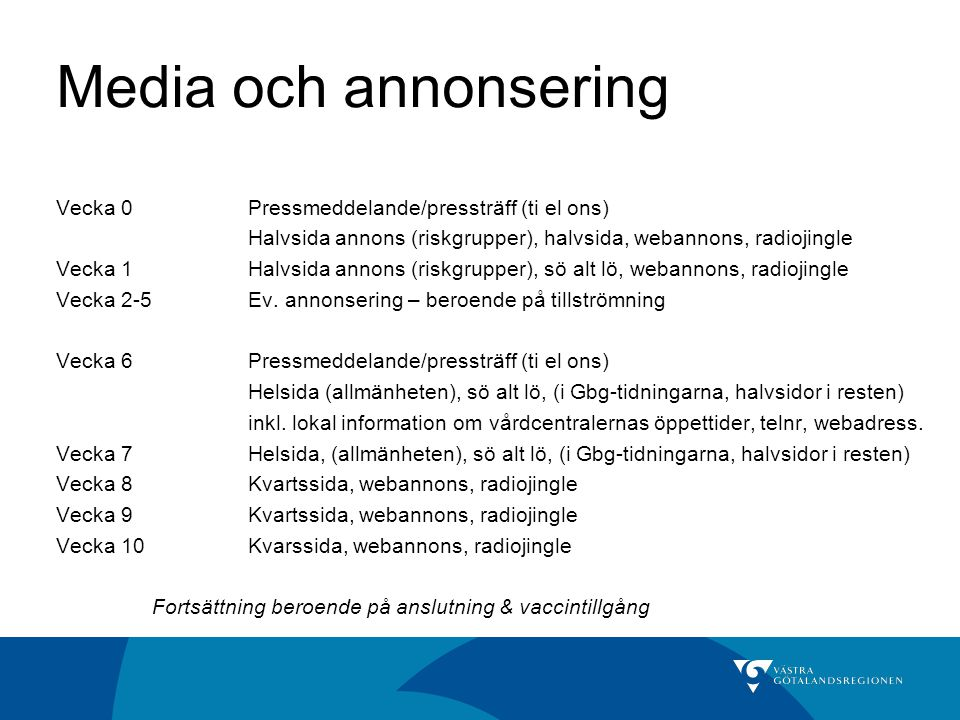 Media och annonsering Vecka 0 Pressmeddelande/pressträff (ti el ons)