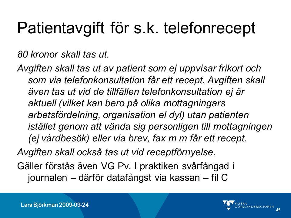 Patientavgift för s.k. telefonrecept