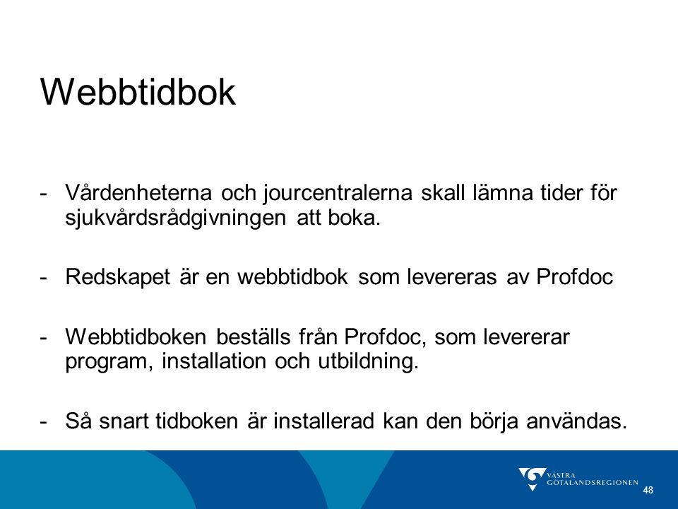 Webbtidbok Vårdenheterna och jourcentralerna skall lämna tider för sjukvårdsrådgivningen att boka.