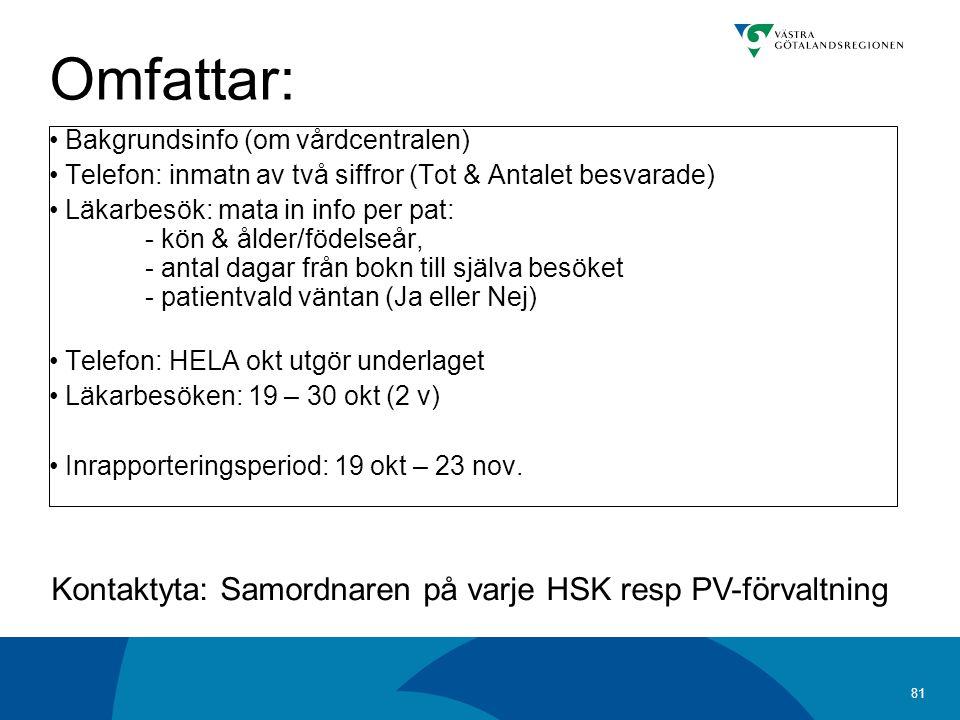 Omfattar: Kontaktyta: Samordnaren på varje HSK resp PV-förvaltning