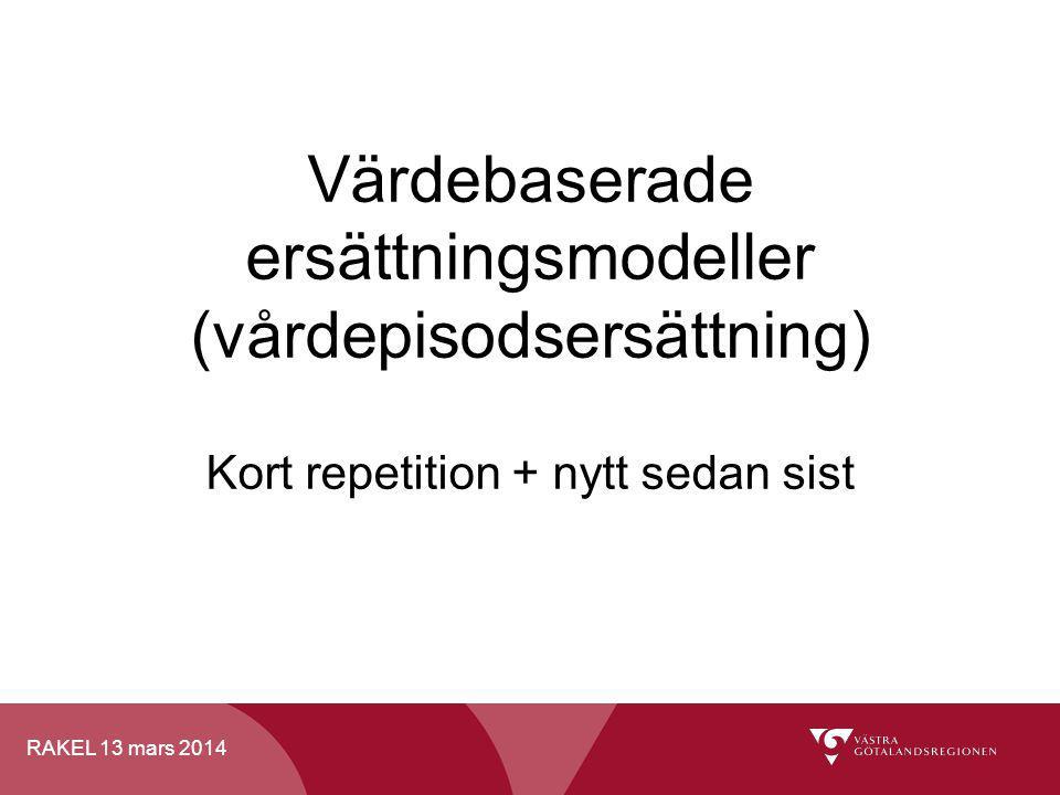 Värdebaserade ersättningsmodeller (vårdepisodsersättning) Kort repetition + nytt sedan sist