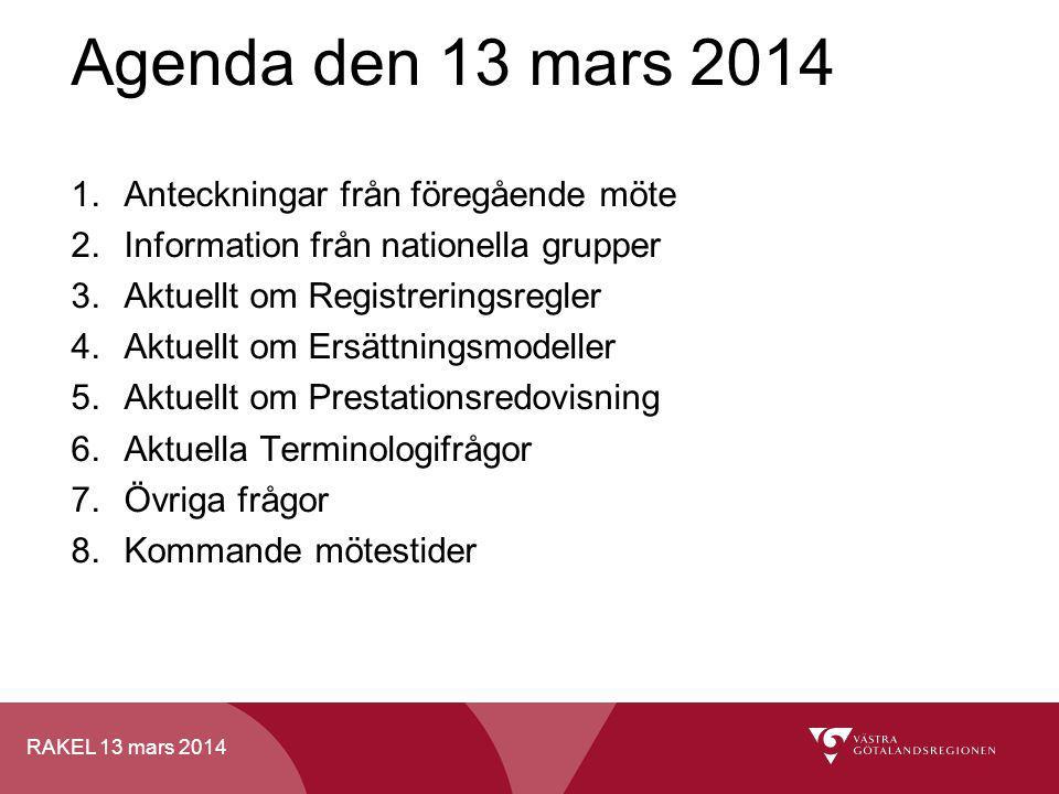 Agenda den 13 mars 2014 Anteckningar från föregående möte