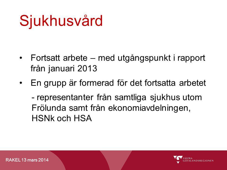 Sjukhusvård Fortsatt arbete – med utgångspunkt i rapport från januari 2013. En grupp är formerad för det fortsatta arbetet.