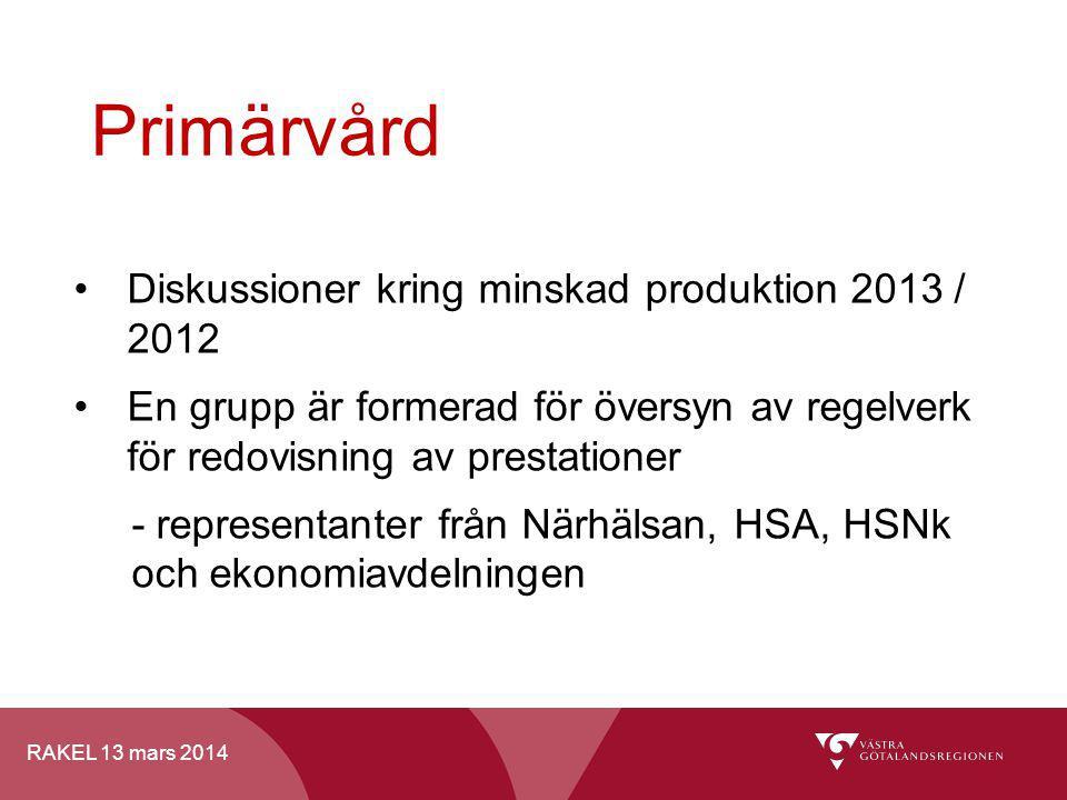 Primärvård Diskussioner kring minskad produktion 2013 / 2012