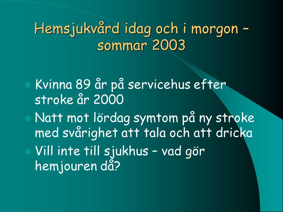 Hemsjukvård idag och i morgon – sommar 2003