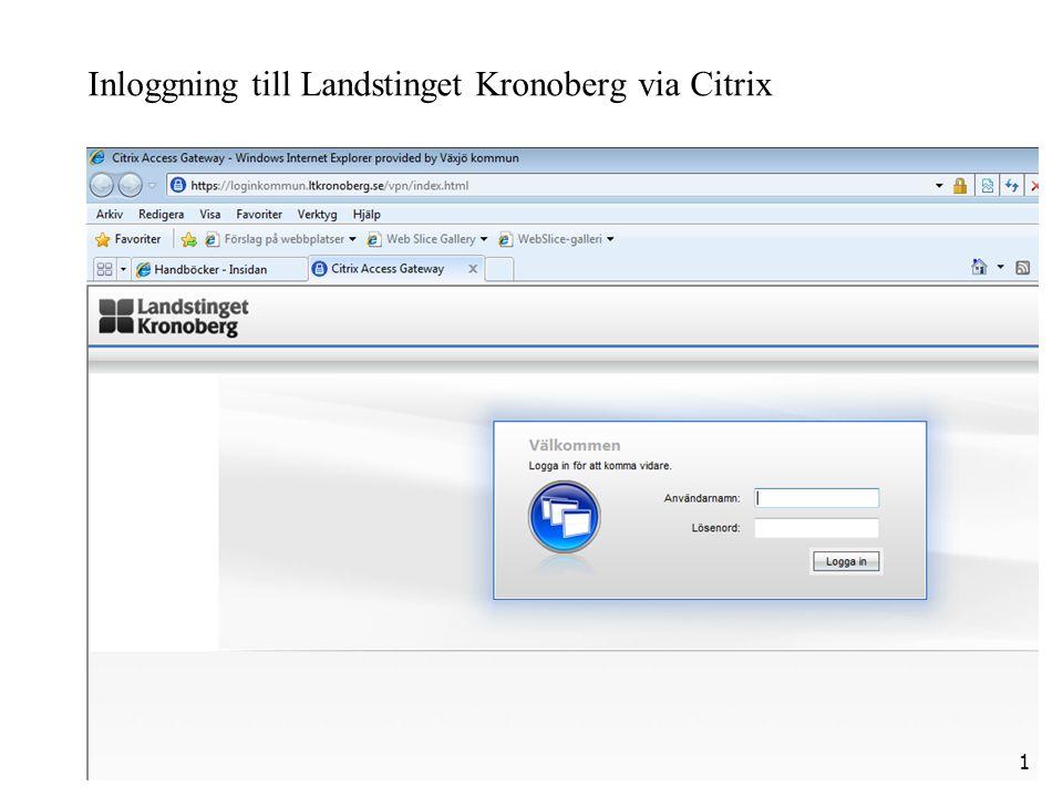 Inloggning till Landstinget Kronoberg via Citrix