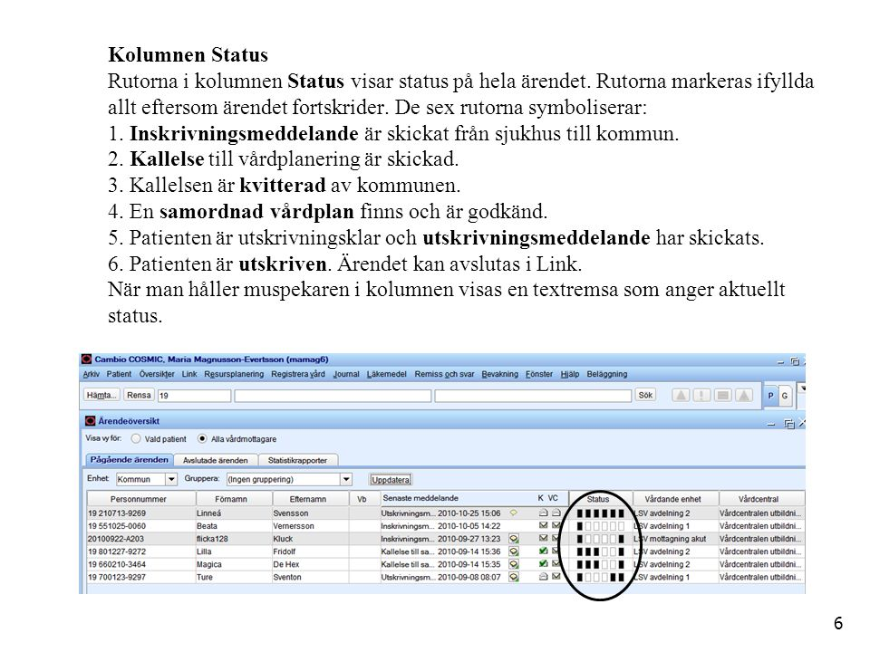 Kolumnen Status Rutorna i kolumnen Status visar status på hela ärendet