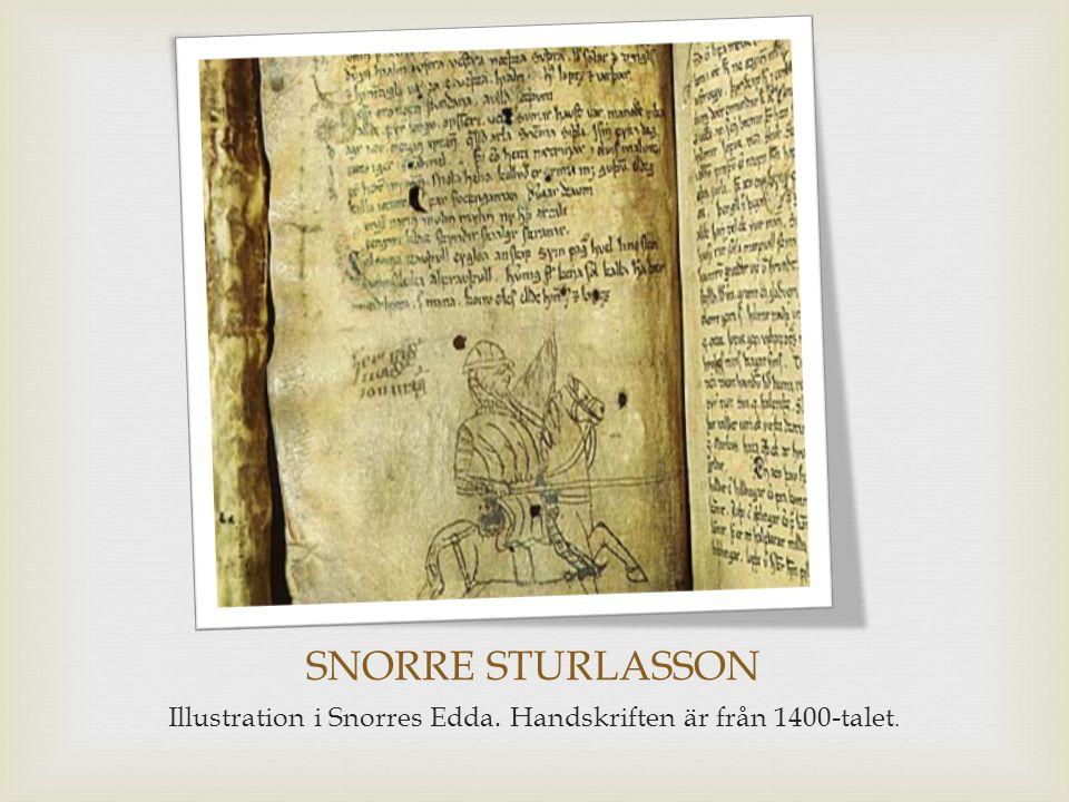 Illustration i Snorres Edda. Handskriften är från 1400-talet.