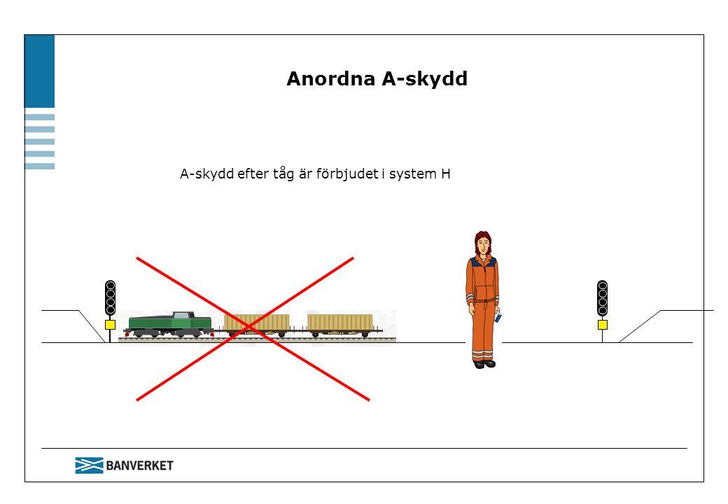 Anordna A-skydd A-skydd efter tåg är förbjudet i system H Berätta