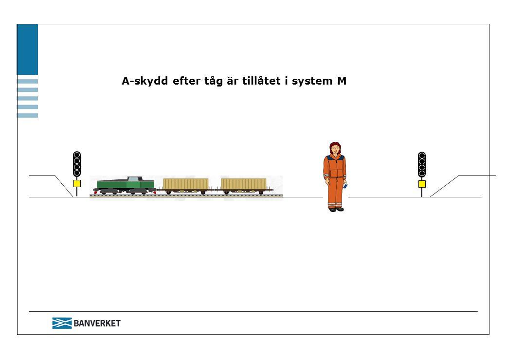 A-skydd efter tåg är tillåtet i system M