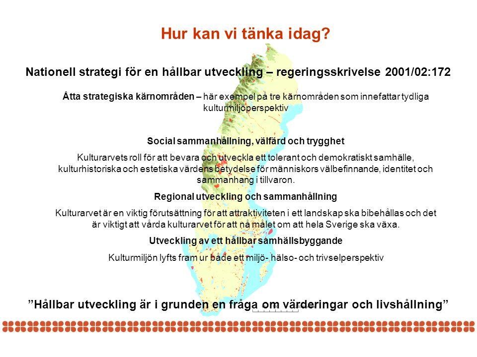 Hur kan vi tänka idag Nationell strategi för en hållbar utveckling – regeringsskrivelse 2001/02:172.
