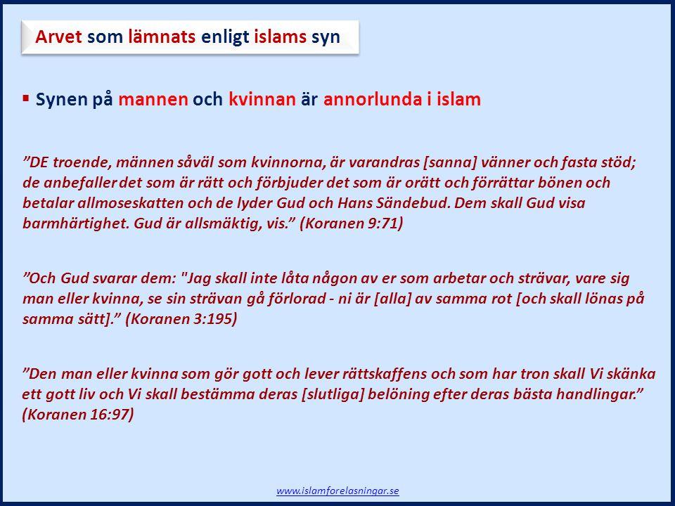 Arvet som lämnats enligt islams syn