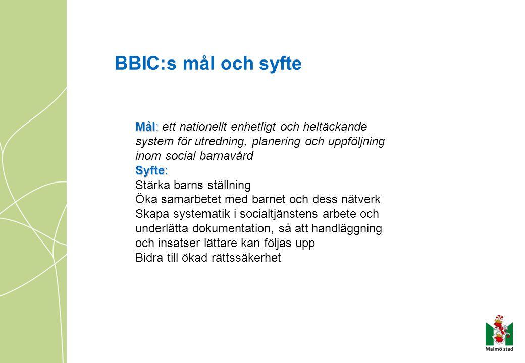 BBIC:s mål och syfte Mål: ett nationellt enhetligt och heltäckande system för utredning, planering och uppföljning inom social barnavård.