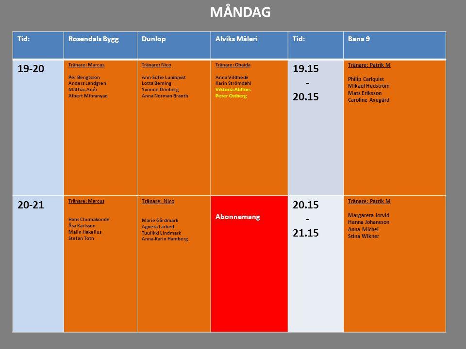 MÅNDAG Tid: Rosendals Bygg. Dunlop. Alviks Måleri. Bana 9. 19-20. Tränare: Marcus. Per Bengtsson.