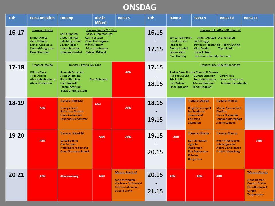 ONSDAG Tid: Bana Relation. Dunlop. Alviks. Måleri. Bana 5. Bana 8. Bana 9. Bana 10. Bana 11.