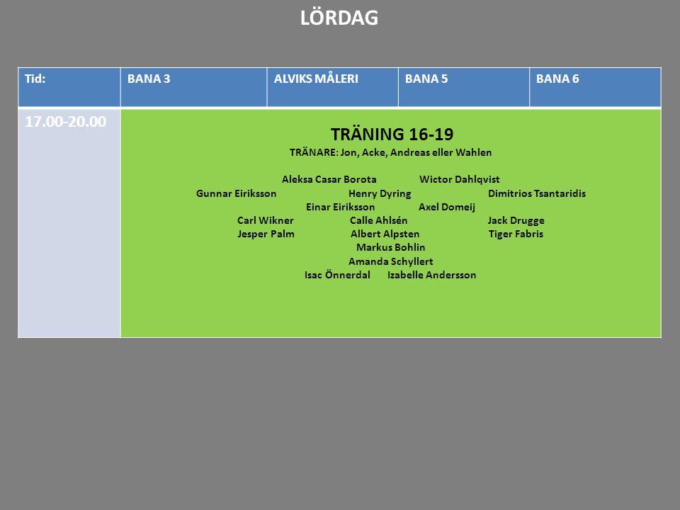 LÖRDAG 17.00-20.00 TRÄNING 16-19 20-21 21-22 Tid: BANA 3 ALVIKS MÅLERI