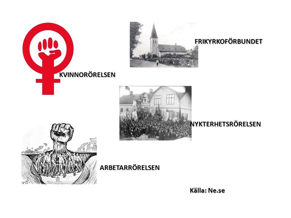 FRIKYRKOFÖRBUNDET KVINNORÖRELSEN NYKTERHETSRÖRELSEN ARBETARRÖRELSEN Källa: Ne.se