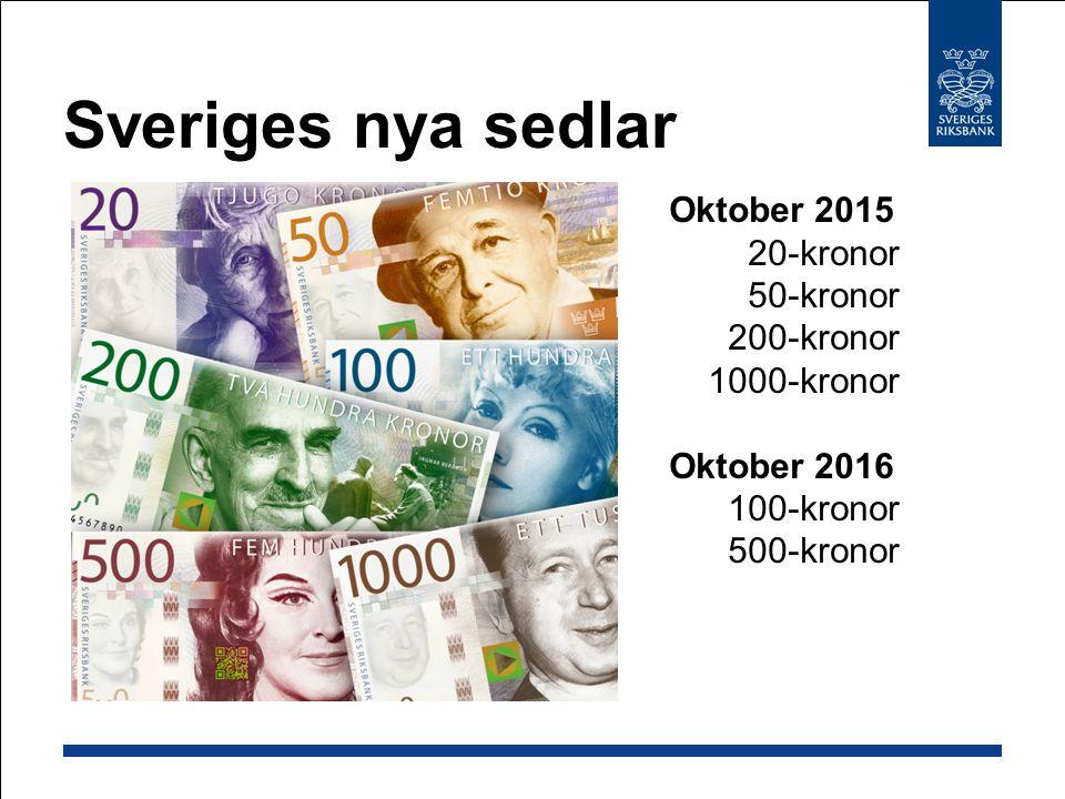 Sveriges nya sedlar Oktober 2015 20-kronor 50-kronor 200-kronor 1000-kronor.