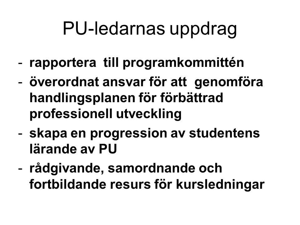 PU-ledarnas uppdrag rapportera till programkommittén