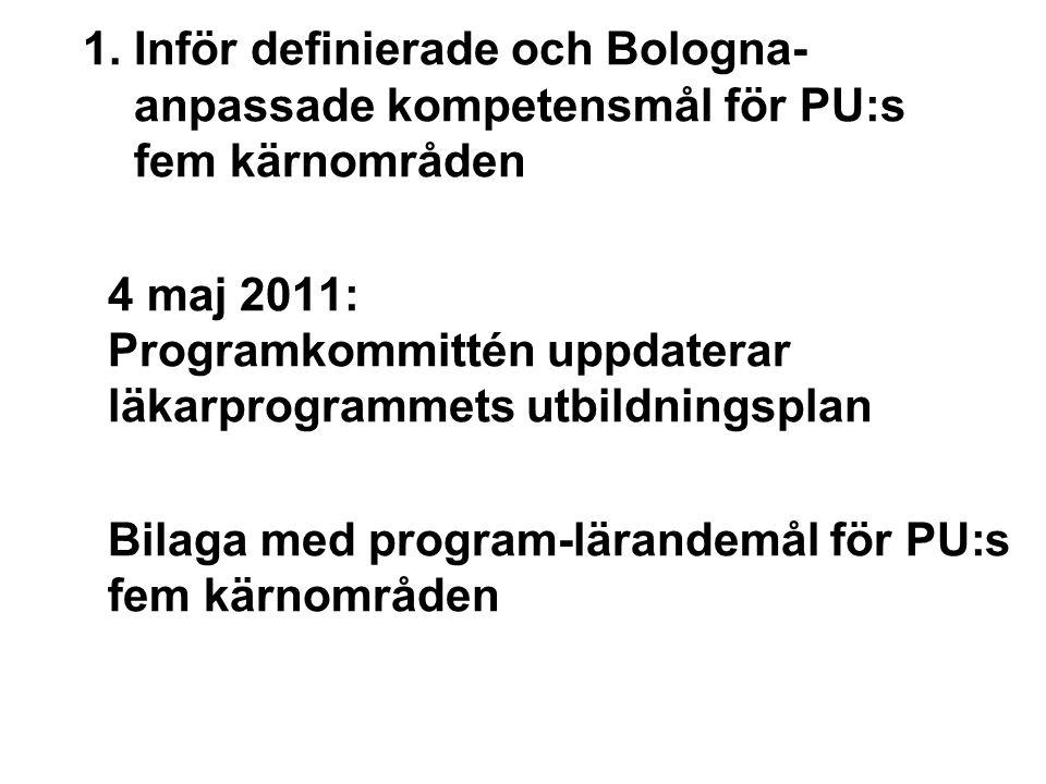 1. Inför definierade och Bologna- anpassade kompetensmål för PU:s fem kärnområden