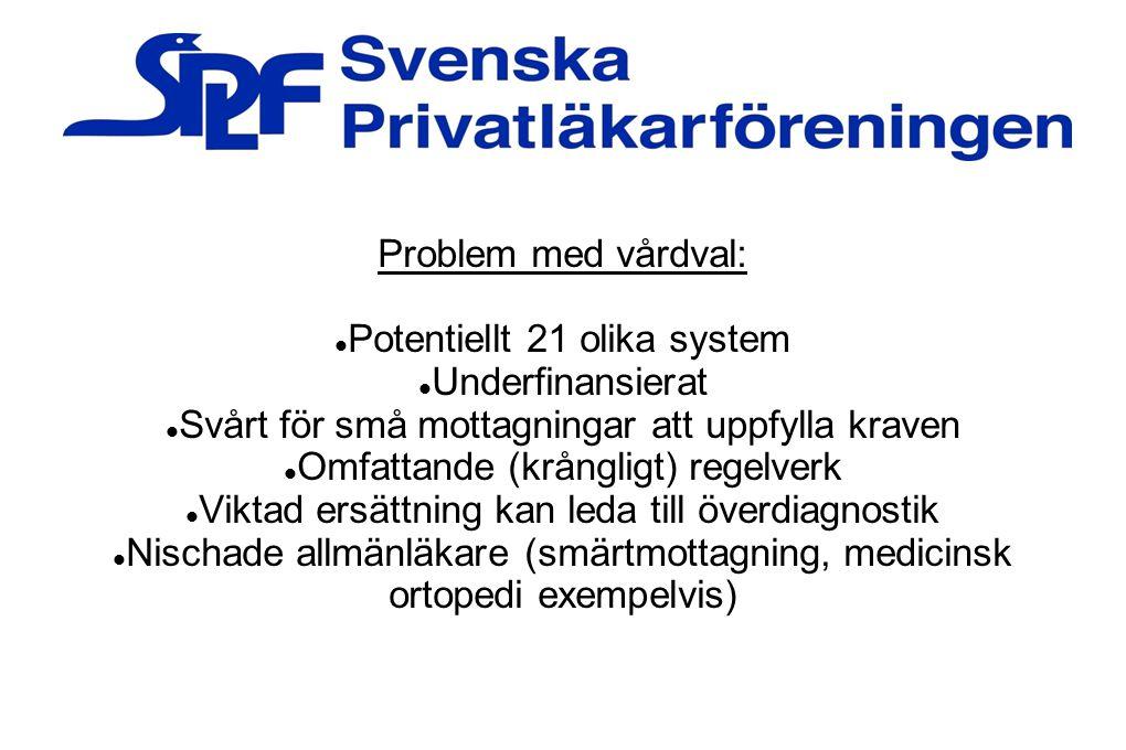 Potentiellt 21 olika system Underfinansierat