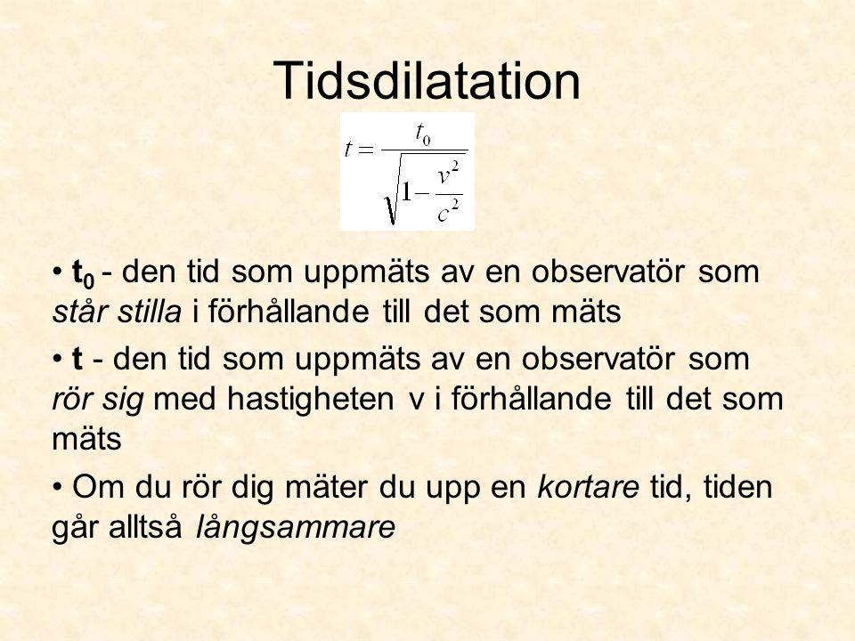 Tidsdilatation t0 - den tid som uppmäts av en observatör som står stilla i förhållande till det som mäts.
